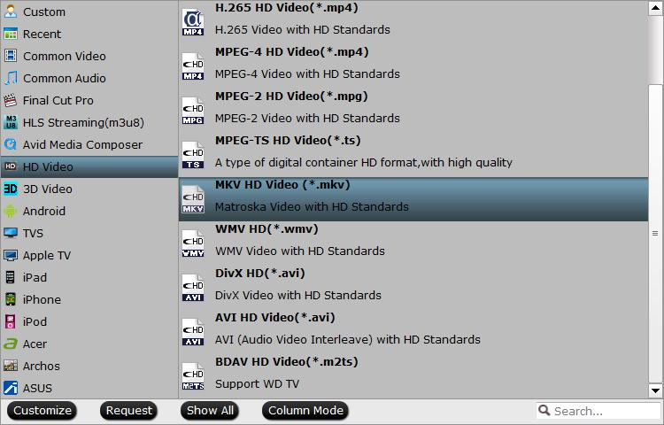 Output HD MKV format